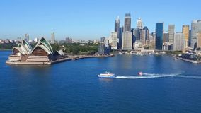 Aerial footage of Sydney Harbour stock video footage