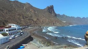Aerial footage of Taganana beach and cliffs, located in north Tenerife, Canary Islands, Spain. stock footage
