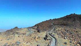 Aerial footage of Teide volcanic landscape in Tenerife, Canary island, Spain. stock video footage