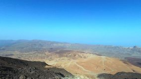 Aerial footage of Teide volcanic landscape in Tenerife, Canary island, Spain. stock footage