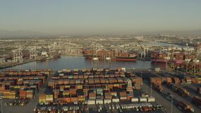 Aerial footage of thousands of containers in the holding area of Long Beach port