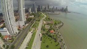 Aerial footage of the tip of Panama City. stock video footage