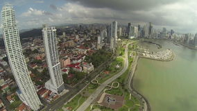 Aerial footage of the tip of Panama City.