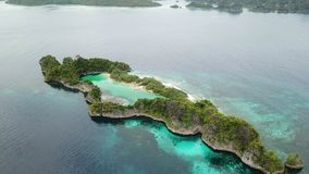 Aerial Footage of Tropical Island in Raja Ampat. An aerial view of an island and surrounding coral reef in Raja Ampat, Indonesia, shows how beautiful this stock footage