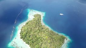 Aerial Footage of Tropical Island in Raja Ampat. The scenic limestone islands in Misool, Raja Ampat are surrounded by healthy, shallow coral reefs. This remote stock video