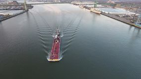 Aerial Footage of Tugboat and Barge on Delaware River stock video
