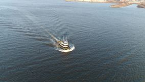 Aerial Footage of Tugboat on Delaware River. Philadelphia PA stock video footage