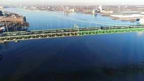 Aerial Footage of Tugboat on Delaware River stock video