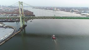 Aerial Footage of Tugboat on Delaware River. Philadelphia PA stock video