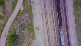 Aerial Footage Video of Train and Train Tracks.  stock footage