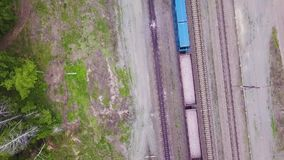 Aerial Footage Video of Train and Train Tracks.  stock video footage