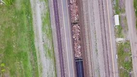 Aerial Footage Video of Train and Train Tracks.  stock video