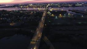 Aerial Footage Walt Whitman Bridge NJ PA. Aerial Footage Heading West over Walt Whitman Bridge Towards Philadelphia PA at Dusk stock footage