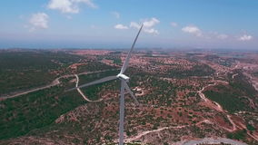 Aerial footage: Windmill in Pahos district, Cyprus stock video footage