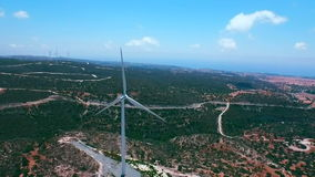 Aerial footage: Windmills in Pahos district, Cyprus stock video