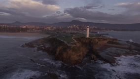 Aerial footage of Wollongong lighthouse stock footage