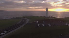 Aerial footage of Wollongong lighthouse stock video