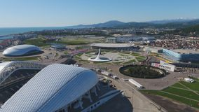 Aerial Football stadium Fischt. Sochi, Adler , Russia, Olympic Torch and Fisht stadium built for Winter Olympic Games Royalty Free Stock Image