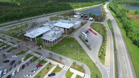 Aerial Fort Drum Service PLaza 4k stock footage