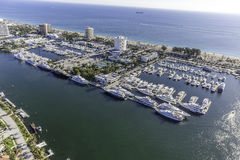 Aerial Fort Lauderdale, Florida. Taken with helicopter Royalty Free Stock Images