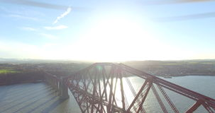 Aerial: Forth Rail Bridge in Queensferry, Edinburgh, Scotland stock video