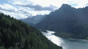 Aerial forward above pine woods forest revealing mountain valley lake in sunny summer day.Europe Italy Alps outdoors. Green nature scape mountains wild stock footage