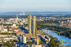 Aerial of Frankfurt  with ECB Stock Image