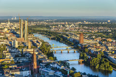 Aerial of Frankfurt  with ECB Royalty Free Stock Photography