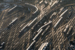 Aerial of Frankfurt main station in sunset Stock Photography