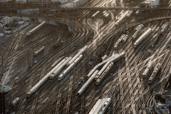Aerial of Frankfurt main station in sunset Royalty Free Stock Photo
