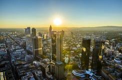 Aerial of Frankfurt  by night Stock Photos