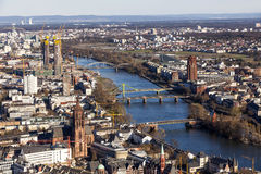 Aerial of Frankfurt with river main Stock Images