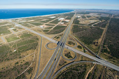 Aerial of freeway intersection in South Africa Stock Photo