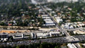 Aerial freeway traffic tilt shift. Video of aerial freeway traffic tilt shift stock video