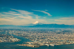 Aerial fuji mountain with tokyo cityscape view Stock Photography