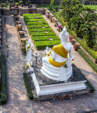 Aerial of the garden of Wat Yai Mongkon in Ayutthaya Royalty Free Stock Photo
