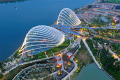 Aerial of the Gardens by the Bay conservatories Stock Image