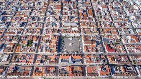 Aerial. Geometric shapes of the village Vila Real Santo Antonio from sky. Aerial. Geometric shapes of the village Vila Real Santo Antonio from the sky Stock Photos