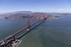 Aerial of the Golden Gate Bridge and Marin County. Aerial of the Golden Gate Bridge, Fort Point and Marin Headlands near San Francisco, California Stock Images