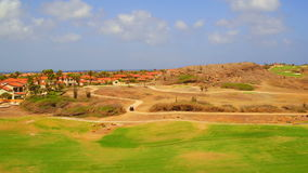 Aerial from a golf course on Aruba island in the Caribbean stock footage