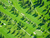 Aerial Golfing During Late Afternoon. Golf course in the Western Washington area shot from 1,500 ft above Stock Images