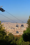 Aerial gondola lift with cable car and Barcelona cityscape panorama seen from Montjuic, Spain Royalty Free Stock Photos