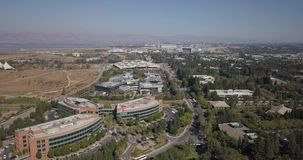 Aerial of Google HQ with solar panels on the roof in mountain view california