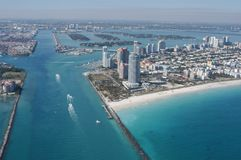 Aerial of Government Cut, Miami skyline and beaches royalty free stock photos