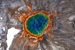 Aerial of the Grand Prismatic Spring in Yellowstown royalty free stock image