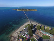 Aerial of Granite Island & Causeway at Victor Harbor Stock Image