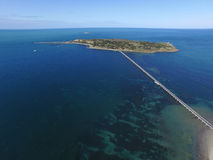 Aerial of Granite Island & Causeway at Victor Harbor Royalty Free Stock Photo