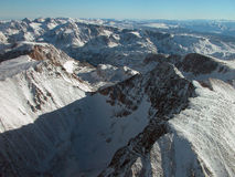 Aerial of Granite Peak and Tempest Mountain. Aerial view of Aerial of Granite Peak and Tempest Mountain. High in the Beartooths of Montana Royalty Free Stock Photos