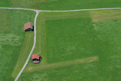 Aerial of green alpine meadow with flowers nearby Oberstdorf Royalty Free Stock Photography
