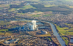 Aerial of Grosskrotzenburg with cole-fired power station Royalty Free Stock Photos